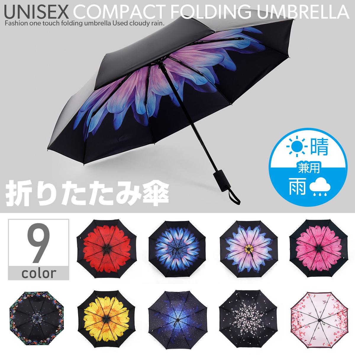 折りたたみ傘 折り畳み傘 晴雨兼用 ワンタッチ 自動開閉 遮光 撥水 UVカット 紫外線対策 9柄 K036-K044