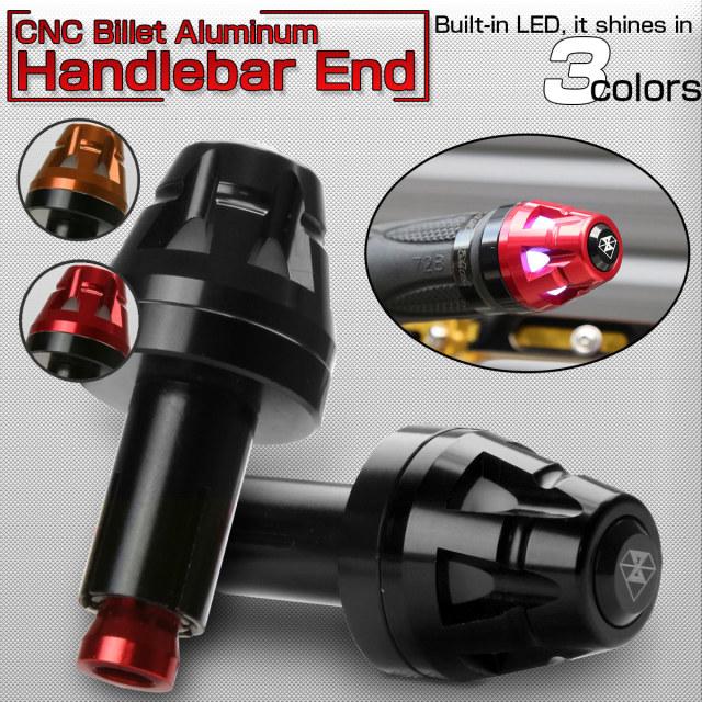 LED内蔵 CNC アルミビレット バーエンド キャップ ハンドル グリップエンド 内径13-20mm 3色発光  F-502