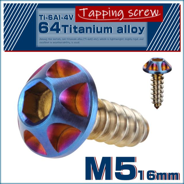 【ネコポス可】 64チタン M5×16mm タッピングネジ カッティングヘッド 六角穴 スクリュー チタンネジ ビス 焼きチタン風 JA035