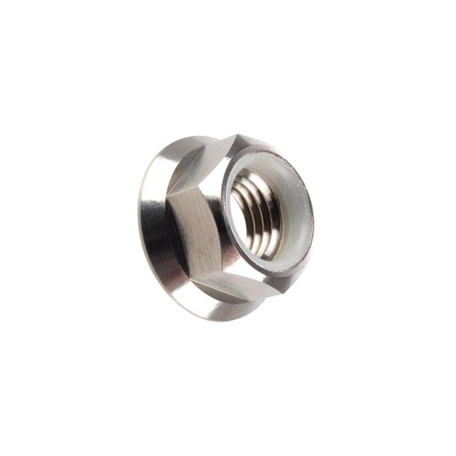64チタン合金(TC4/GR5) M5 P=0.80 フランジナイロンナット ゆるみ止め防止に フランジ付 六角ナット シルバー JA175