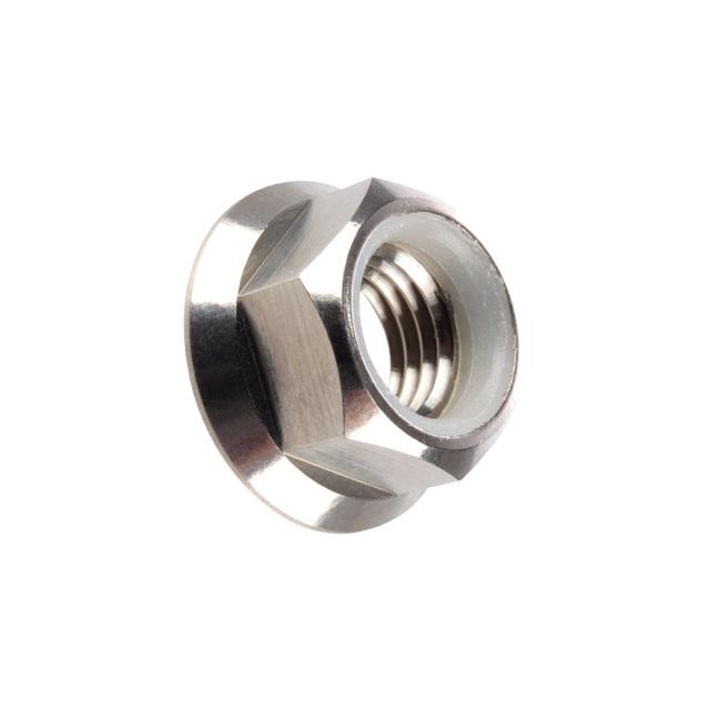 64チタン合金(TC4/GR5) M6 P=1.00 フランジナイロンナット ゆるみ止め防止に フランジ付 六角ナット シルバー JA176