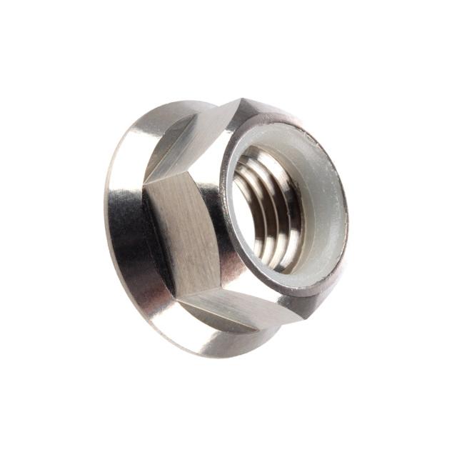 64チタン合金(TC4/GR5) M8 P=1.25 フランジナイロンナット ゆるみ止め防止に フランジ付 六角ナット シルバー JA177