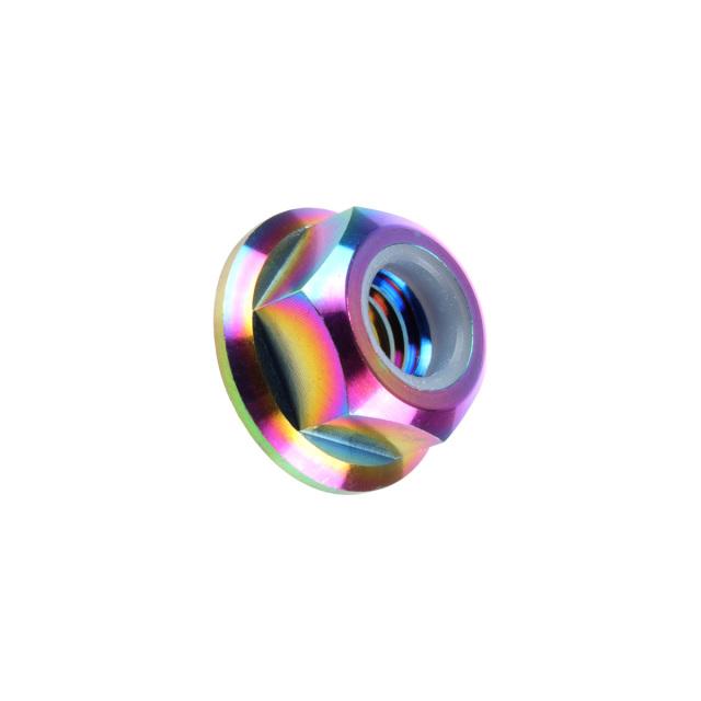 【ネコポス可】 64チタン合金(TC4/GR5) M5 P=0.80 フランジナイロンナット ゆるみ止め防止に フランジ付 六角ナット レインボー JA271