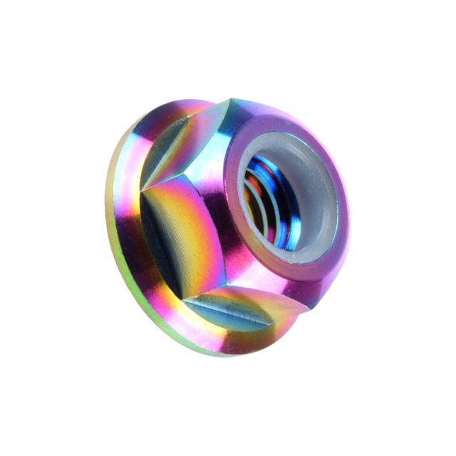 【ネコポス可】 64チタン合金(TC4/GR5) M8 P=1.25 フランジナイロンナット ゆるみ止め防止に フランジ付 六角ナット レインボー JA273