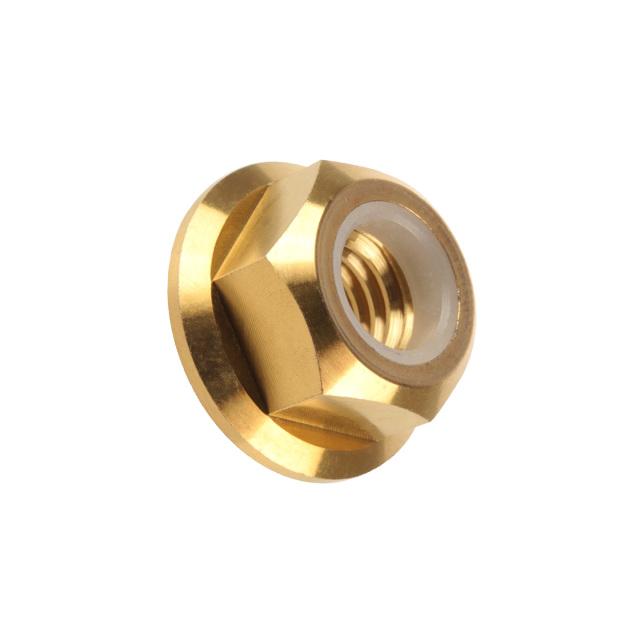 【ネコポス可】 64チタン合金(TC4/GR5) M6 P=1.00 フランジナイロンナット ゆるみ止め防止に フランジ付 六角ナット ゴールド JA276