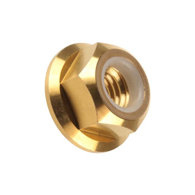 【ネコポス可】 64チタン合金(TC4/GR5) M8 P=1.25 フランジナイロンナット ゆるみ止め防止に フランジ付 六角ナット ゴールド JA277