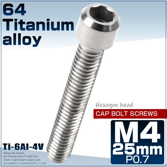 【ネコポス可】64チタン キャップボルト M4×25mm P0.7 六角穴 ディレーラー調整ボルト シルバー チタン原色 JA686