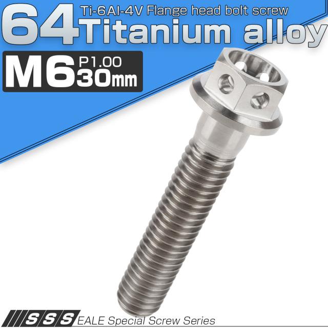 【ネコポス可】 64チタン合金(TC4 GR5) M6×30 P1.00 ホールヘッド 六角ボルト フランジ付 シルバー チタン原色 JA787