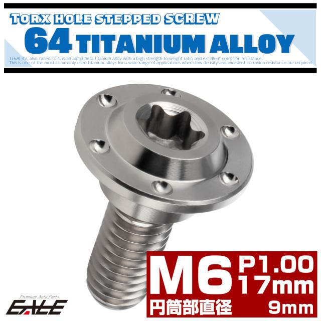 【ネコポス可】 M6×17mm P1.0 円筒部直径9mm 64チタン 段付きフランジボルト トルクス穴 ホールヘッド シルバー JA882