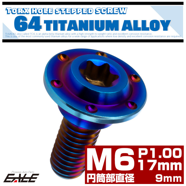 【ネコポス可】 M6×17mm P1.0 円筒部直径9mm 64チタン 段付きフランジボルト トルクス穴 ホールヘッド 焼きチタン JA883