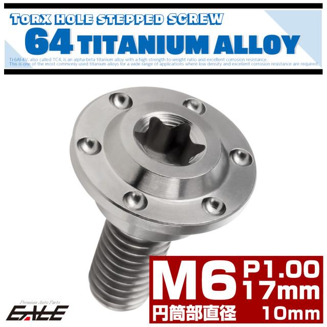 【ネコポス可】 M6×17mm P1.0 円筒部直径10mm 64チタン 段付きフランジボルト トルクス穴 ホールヘッド シルバー JA885