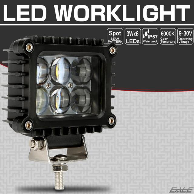 LED 作業灯 30W スポット 6連プロジェクター 薄型 バックランプ 補助灯 ワークライトに 12V 24V 防水 IP67 P-551