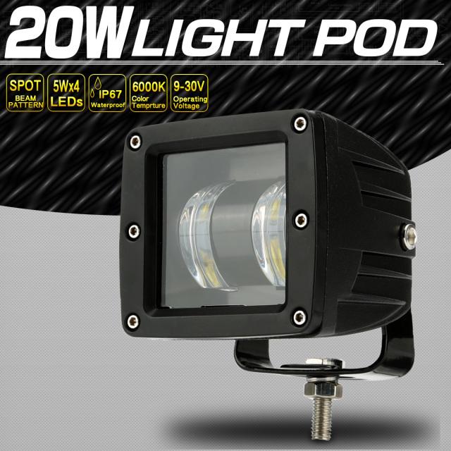 LED 作業灯 20W ライトポッド フォグランプ バックランプ 補助灯 ワークライト 小型 12V 24V 防水 IP67 P-552