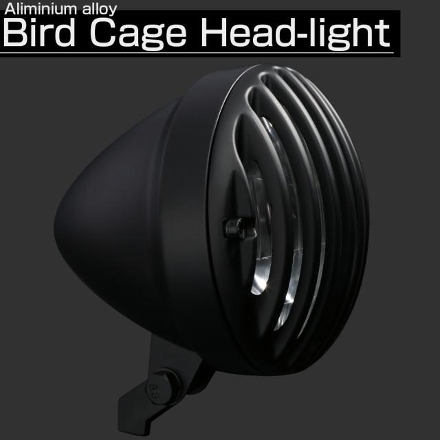汎用 LEDヘッドランプ バードゲージ 5-1|2インチ ランプ内蔵 H4バルブ アルミ鋳造 マットブラック P-616-BK