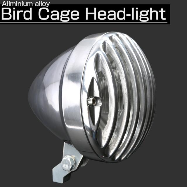 汎用 LEDヘッドランプ バードゲージ 5-1|2インチ ランプ内蔵 H4バルブ アルミ鋳造 シルバー P-616-S