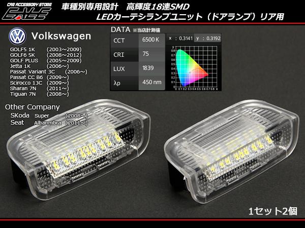 VW リア汎用 LEDカーテシランプ ゴルフ5ゴルフ6等 R-128