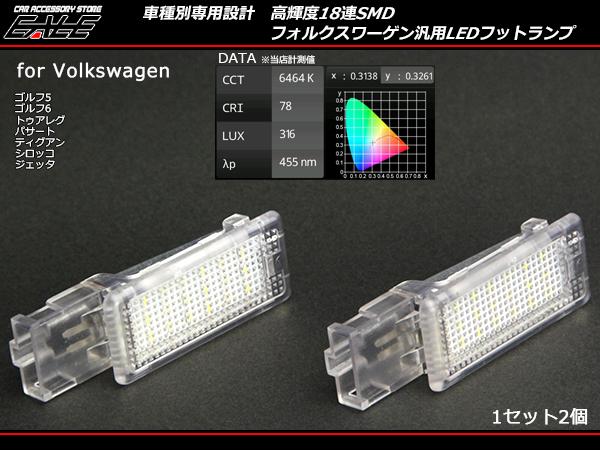VW LEDフットランプ ゴルフ6 5パサートトゥアレグ ティグアン シロッコ ジェッタ等 ( R-135 )
