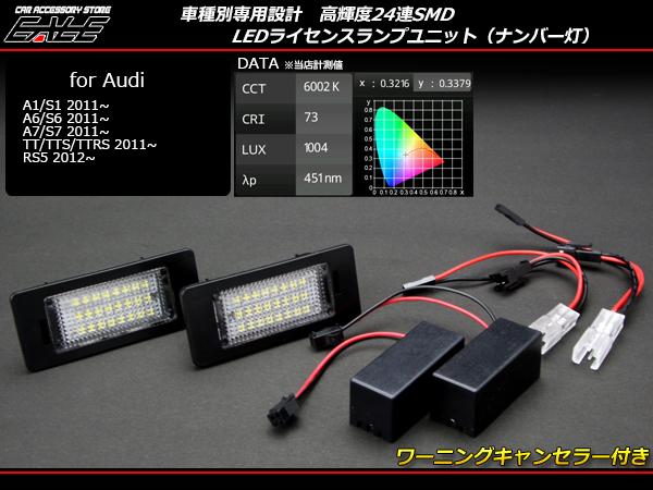 アウディ LEDライセンスランプユニット A1 S1 A6 S6 A7 S7 TTS TTRS TT RS5 ( R-147a )