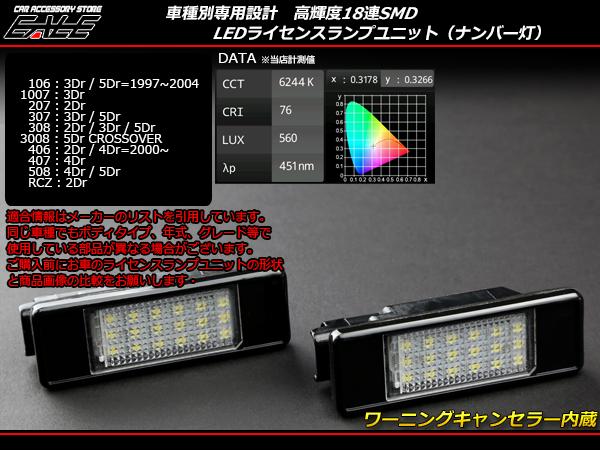 プジョー10610072073073083008406RCZ LEDライセンスランプ ( R-173 )