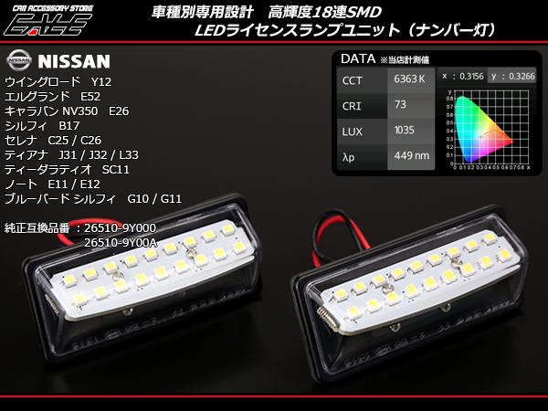 ティーダラティオ SC11 ティアナ J31 J32 L33 シルフィ B17 ノート E11 E12 ブルーバード シルフィ G10 G11 LEDライセンスランプ ( R-209 )