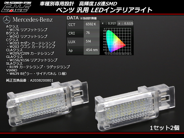 ベンツ 汎用 LEDカーテシランプ ルームランプ W203/S203/W209/C209/R199  (R-213)
