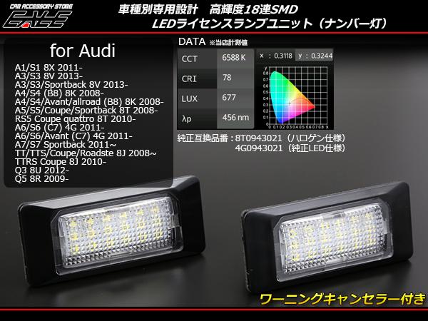 アウディ LED ライセンスランプ A1 S1 8X /A3 S3 8V / A4 S4 B8系 8K / A5 S5 8T / A6 S6 C7系 4G / A7 S7 4G /Q3 8U / Q5 8R R-216