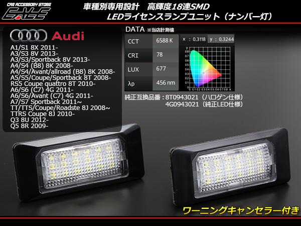 アウディ LEDライセンスランプ ナンバー灯 A7 S7 TT TTS TTRS Q3 Q5 ( R-216 )