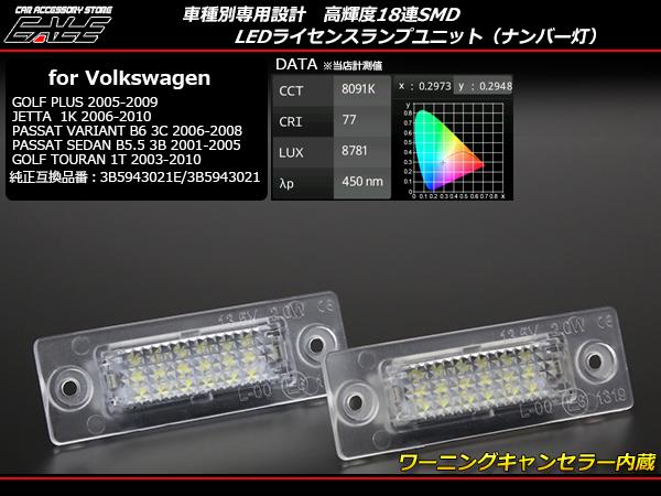 VW LEDライセンスランプ ナンバー灯 ゴルフ トゥーラン 1T ジェッタ パサート セダン B5.5 ヴァリアント B6 ( R-217 )
