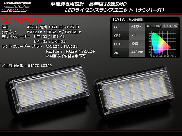 210系 クラウン ハイブリッドも対応 100系 200系 ランドクルーザー 120系 ランドクルーザー プラド AZK 10系 SAI サイ 前期専用 LED ライセンスランプ ( R-219)