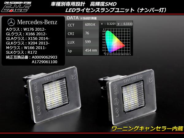 メルセデス ベンツ LED ライセンスランプ ナンバー灯 Aクラス/W176 GLクラス/X166 GLAクラス/X156 Mクラス/W166 SLKクラス/R172 R-406