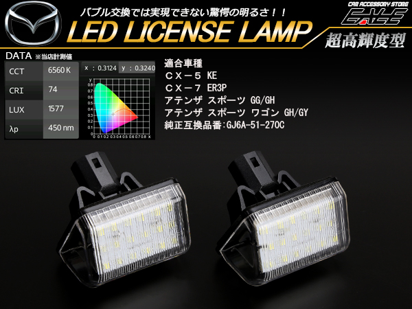 マツダ LED ライセンスランプ ナンバー灯 KE系 CX-5 ER3P CX-7 GG系 GH系 アテンザ スポーツ セダン GY系 GG系 アテンザ ワゴン R-408