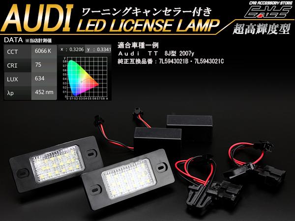 アウディ LED ライセンスランプ ナンバー灯 TT クーペ 8J型(ネジ固定タイプ) R-409