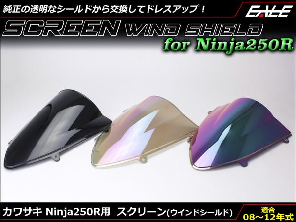 Ninja250R 08~12年式 スクリーン ウインド シールド フロントカウルを格好良く EX250K S-605S-606