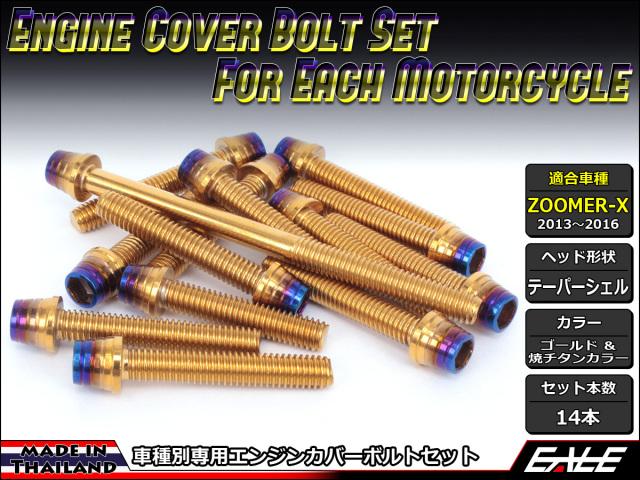 ZOOMER-X エンジンカバー ボルト14本set キャップボルト CTCテーパーシェルヘッド ゴールド&焼チタンカラー TB6037