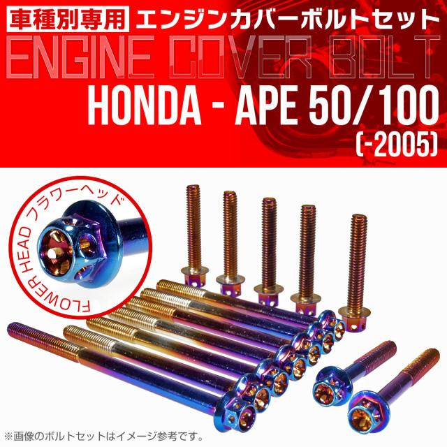 エイプ 50 100  -2005 エンジンカバーボルト 14本セット フラワーヘッド 焼チタン TB6156