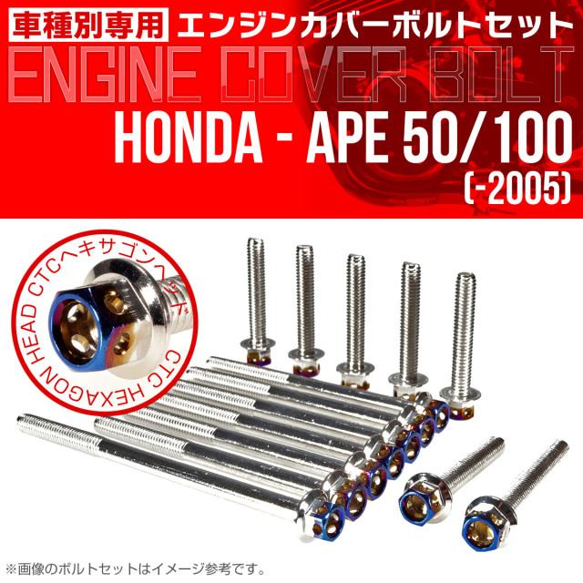 エイプ 50 100  -2005 エンジンカバーボルト 14本set CTCヘキサゴンヘッド 銀&焼チタン TB6159