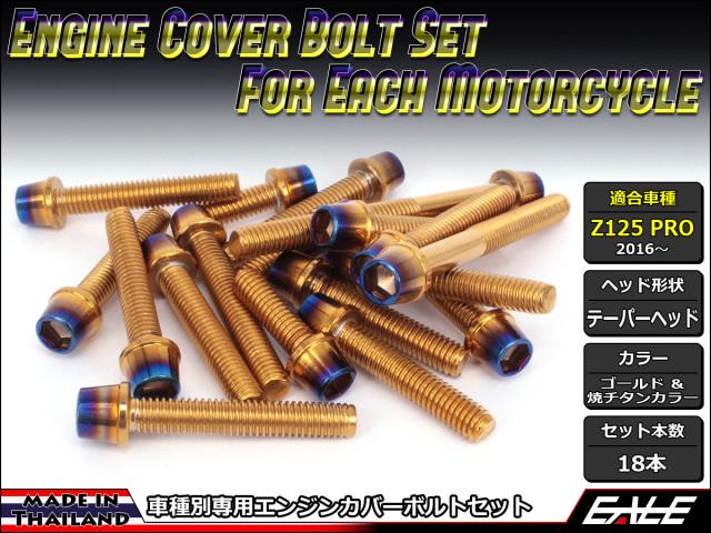 Z125 PRO(BR125) エンジンカバー ボルト18本set キャップボルト CTCテーパーヘッド ゴールド&焼チタンカラー TB8033