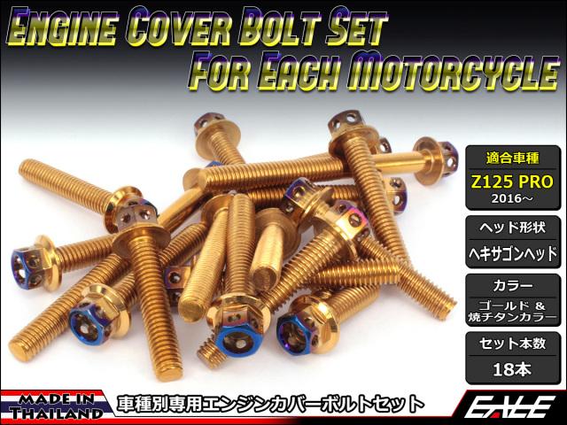 Z125 PRO(BR125) エンジンカバー ボルト18本set フランジ付六角ボルト CTC Hexagon Head ゴールド&焼チタンカラー TB8035
