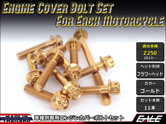 Z250(ER250) エンジンカバー ボルト11本set フランジ付六角ボルト フラワーヘッド ゴールド TB8055
