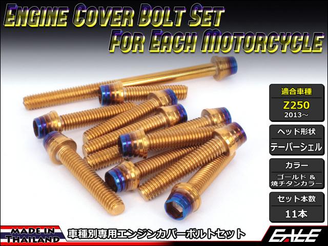 Z250(ER250) エンジンカバー ボルト11本set キャップボルト CTCテーパーシェルヘッド ゴールド&焼チタンカラー TB8062