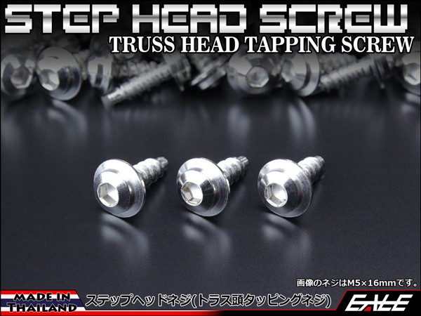 【ネコポス可】 M5×16mm ステップヘッドネジ タッピングネジ ステンレス 削り出し トラス頭 カウルやパネルなどに シルバー TC0033