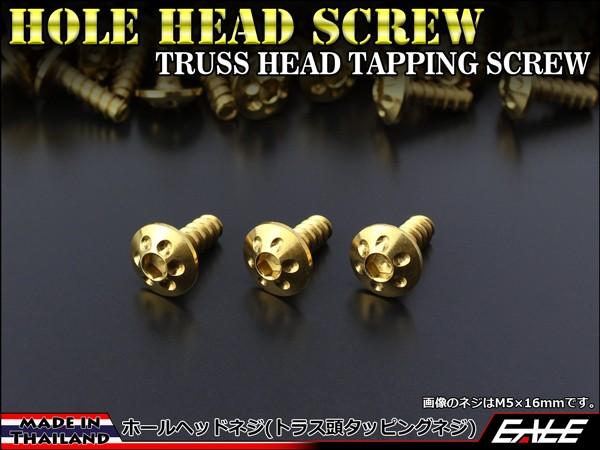 M5×20mm ホールヘッドネジ タッピングネジ ステンレス 削り出し トラス頭 カウルやパネルなどに ゴールド TC0069