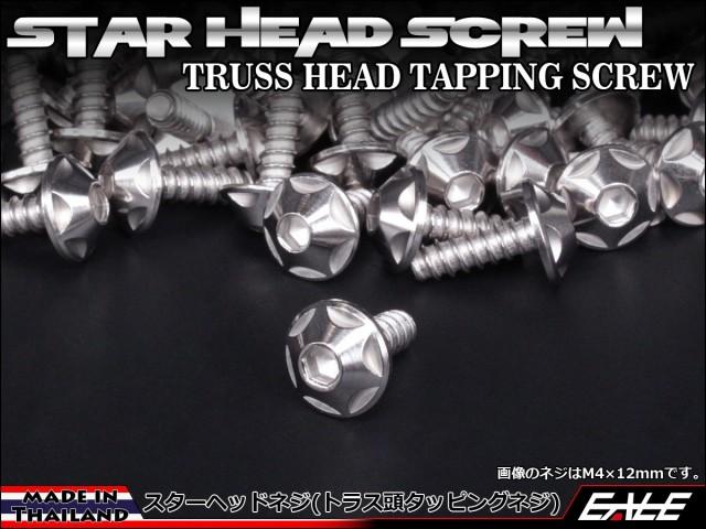 【ネコポス可】 M4×12mm スターヘッドネジ タッピングネジ ステンレス 削り出し トラス頭 シルバー TC0121