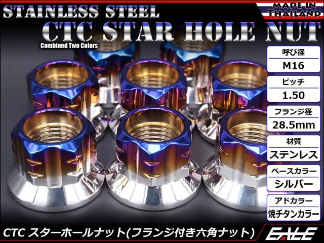 SUSステンレス M16スターホールナット P=1.50 フランジ付六角ナット シルバー&焼チタンカラー TF0136