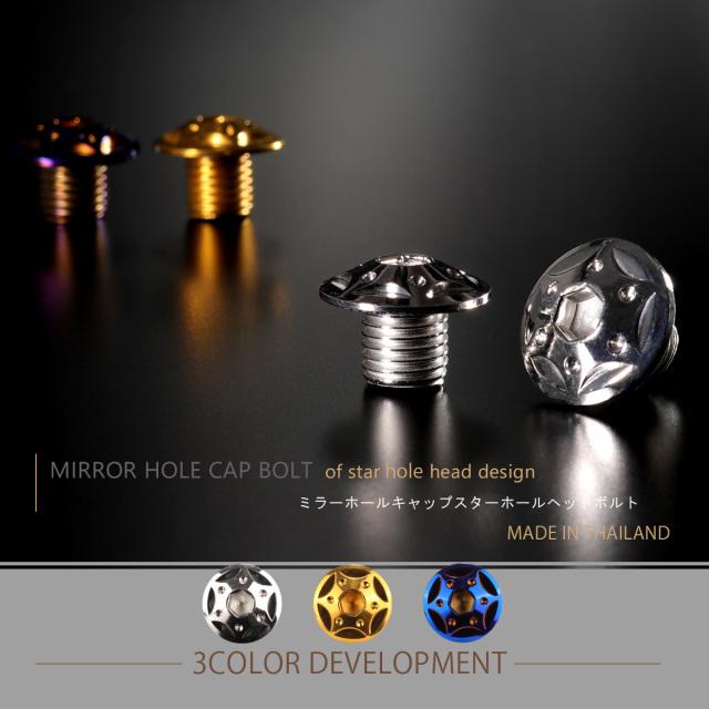 【ネコポス可】 ミラーホールカバー キャップ スターホールヘッド 2個セット M10×10mm 正ネジ P1.25 SUS304 ステンレス製 シルバー TH0121