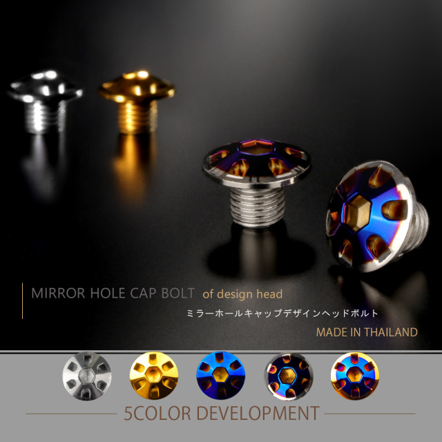 【ネコポス可】 ミラーホールカバー キャップ デザインヘッド 2個セット M10×10mm 正ネジ P1.25 SUS304 ステンレス製 シルバー&ブルー TH0127
