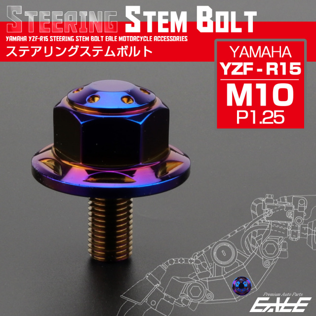 ステアリング ステムボルト YZF-R15 ヤマハ M10 P1.25 ホールスターヘッド SUSステンレス 焼チタンカラー TH0140