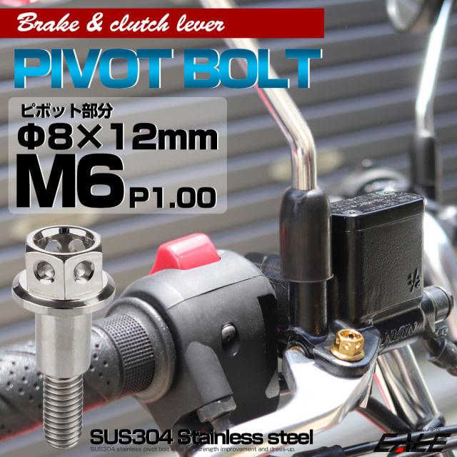 【ネコポス可】 SUSステンレス サイドホールヘッド ブレーキ&クラッチレバー取付 ピボットボルト Φ7×10mm M6×14mm P=1.00 シルバー TH0523
