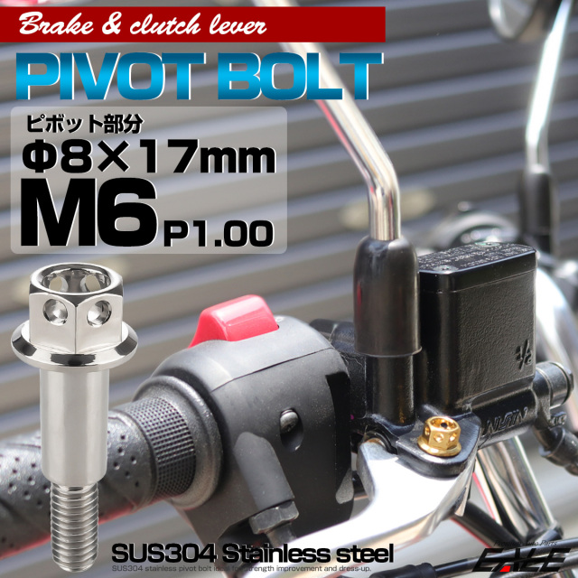 【ネコポス可】 SUSステンレス サイドホールヘッド ブレーキ&クラッチレバー取付 ピボットボルト Φ7×16mm M6×14mm P=1.00 シルバー TH0524