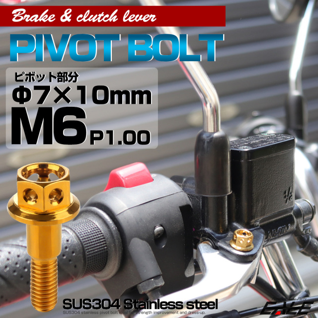 【ネコポス可】 SUSステンレス サイドホールヘッド ブレーキ&クラッチレバー取付 ピボットボルト Φ7×10mm M6×14mm P=1.00 ゴールド TH0525
